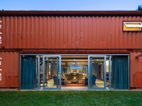 container home with sliding doors