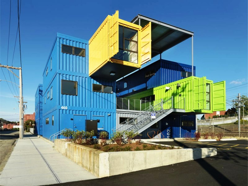 shipping container buildings the box office shipping container project. Black Bedroom Furniture Sets. Home Design Ideas