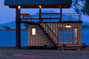 shipping container lakeside retreat - Container Home Design Ideas