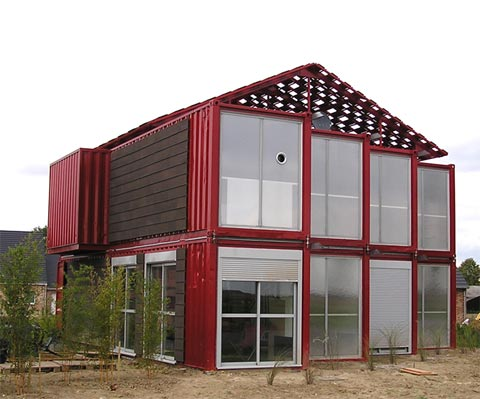 Building a house out of shipping containers the lille red shipping container house - Building shipping container homes ...